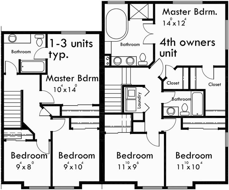15 best townhouse plans images on pinterest apartment for Fourplex plans