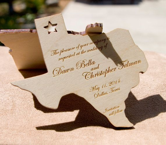 State or country shaped engraved wood save the date by RobertoSand, $2.50