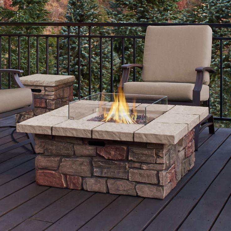 Give your home a cool fire pit table with this brick façade propane patio fire pit. This fire pit can double as a concrete table and can offer warmth by up to 65,000 BTUs if you want it on full charge. It is also very easy to use and comes with lava rock fillers and PVC covering to protect it from the elements.