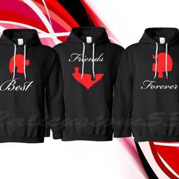 """Puzzle Piece Heart """"Best Friends Forever"""" Hoodies For 3"""