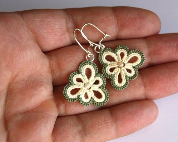 Tatted lace earrings green flowers sterling silver by LaceLadyOla, $18.00