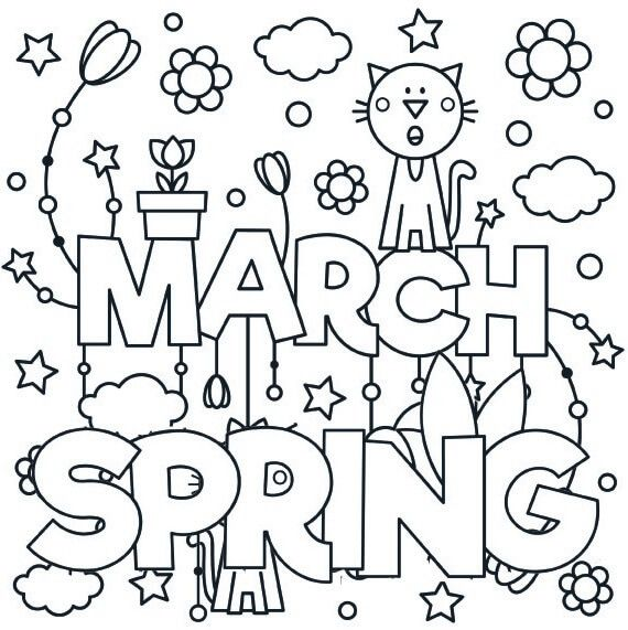 March Spring Coloring Page In 2021 Spring Coloring Pages Bee Coloring Pages Coloring Pages
