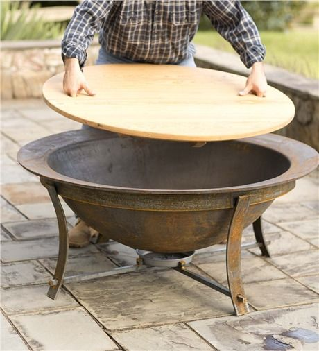 Syrup Kettle Fire Pit and Stand, (with optional) Fountain Liner & Tabletop