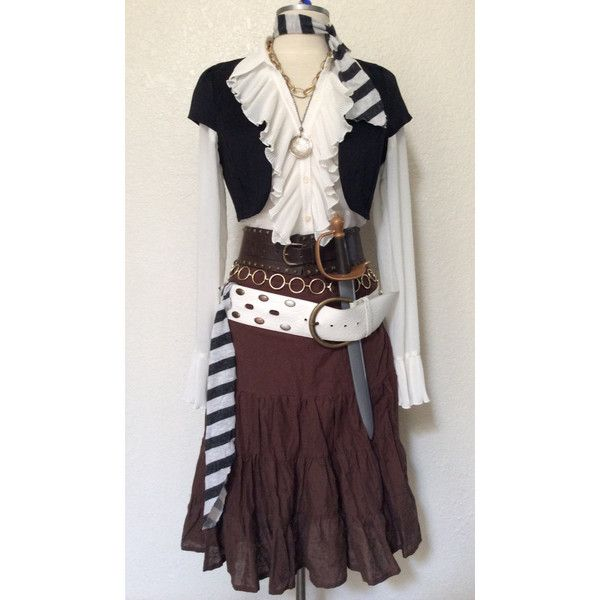 Adult Women's Pirate Halloween Costume With Jewelry Belts Large ($248) ❤ liked on Polyvore featuring costumes, adult ladies halloween costumes, white costume, adult women costumes, ladies pirate costume and womens pirate halloween costumes