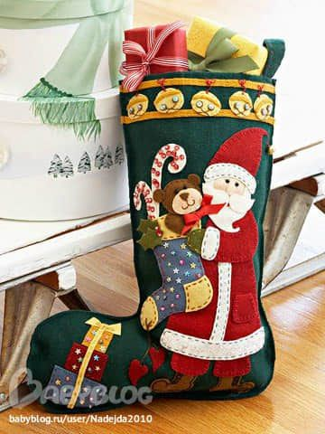 Moldes para hacer botas navideñas de fieltro gratis04