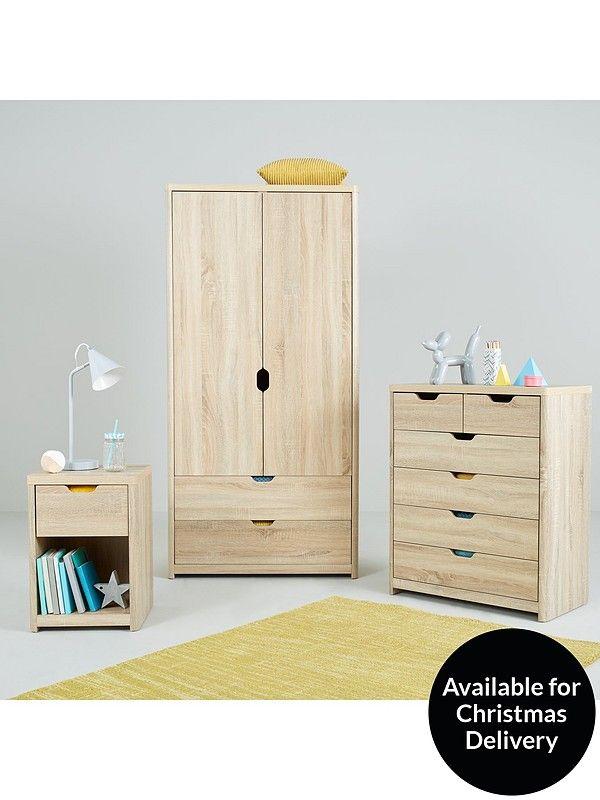 Aspen 2 Door 2 Drawer Wardrobe Oak Oak Bedroom Furniture Baby Bedroom Furniture Oak Bedroom
