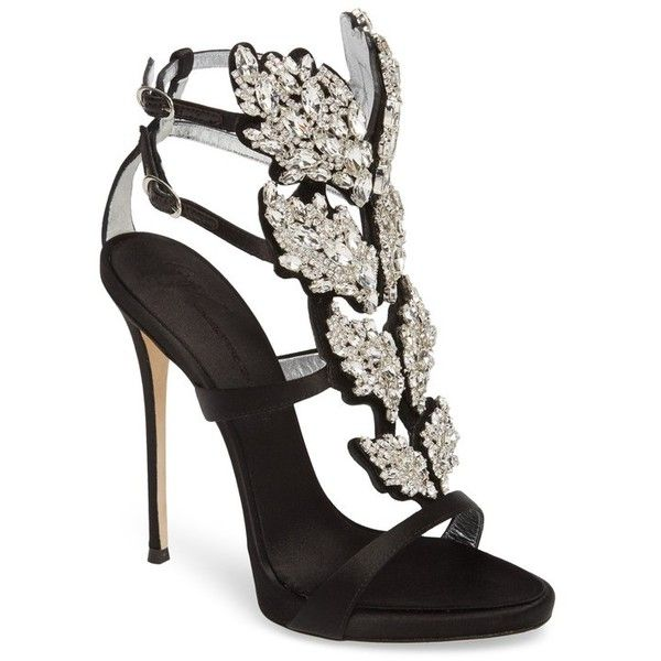 Women's Giuseppe Zanotti Cruel Wing Crystal Embellished Sandal (€1.765) ❤ liked on Polyvore featuring shoes, sandals, giuseppe zanotti, caged shoes, giuseppe zanotti shoes, high heel stilettos and stiletto heel shoes