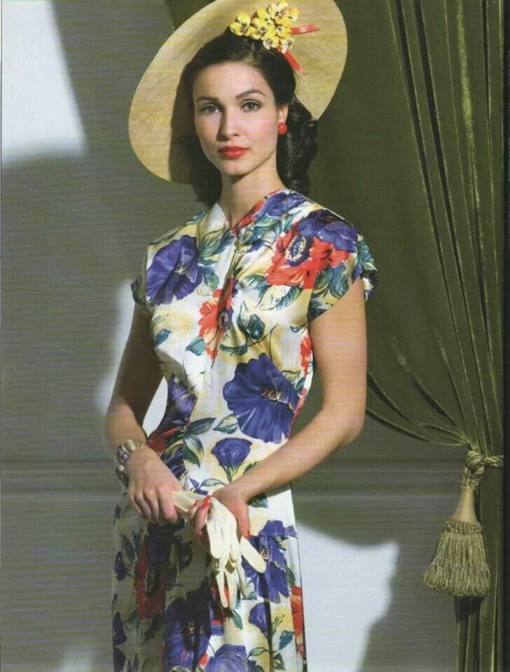 Contemporary 40's look floral rayon day dress blue red white green hat gloves 40s fashion style color photo print ad model