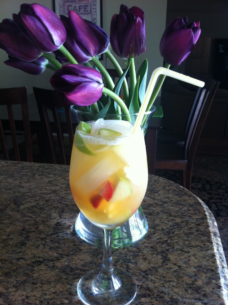 Spring Sangria... Yummy 1 Cup E and J Brandy 1 Cup Peach ...