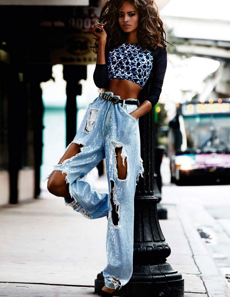 VOGUE Paris April 2014, sequined jeans, oversized, destroyed, editorial, cropped top