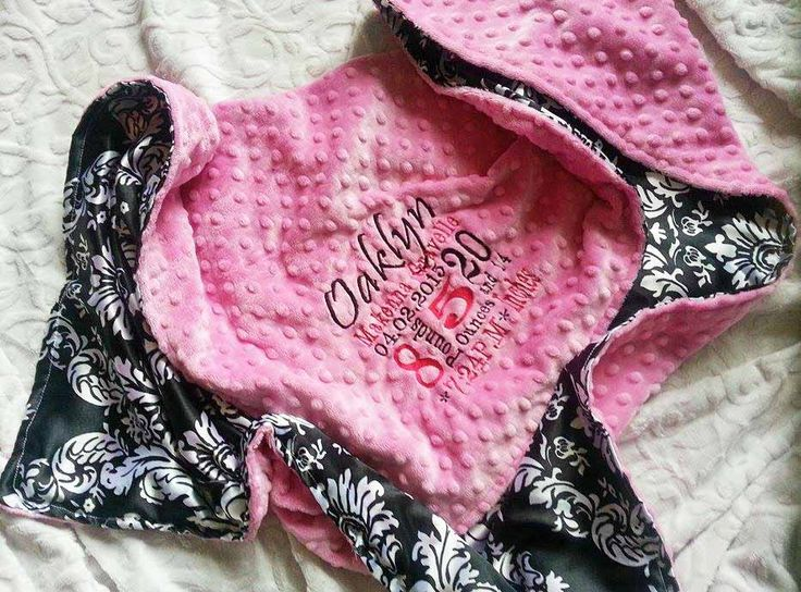 Satin baby Blanket - Personalized baby blanket -  Hot Pink minky dot with damask satin by KnuffelStuff on Etsy