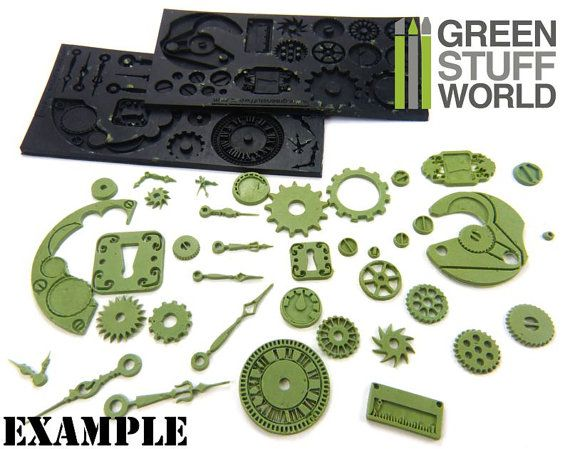PACK x2 Steampunk Gear Texture - RUBBER MOLDS Made of high quality rubber material, easy to use and intricately cut for great impressions, these molds are heat resistant and durable. The molds are extra deep to give highly detailed beautiful results for both dimensional design and surface imprinting. The molds work great with polymer clay, metal clay, paper, fabrics, wood, glass and more. Overcooking of polymer clay may burn it and also leave it stuck to the mold. Not valid for polyurethane…