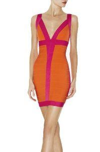 Donner® Celebrity Women's V-neck Cocktail Party Evening Mini Bandage Dresses (Large)