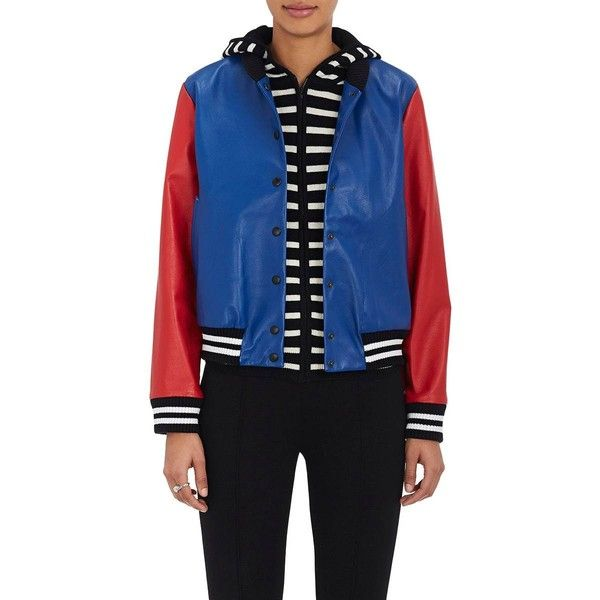 Lisa Perry Women's Appliquéd Leather Bomber Jacket ($1,595) ❤ liked on Polyvore featuring outerwear, jackets, leather jackets, striped leather jacket, blue bomber jacket, colorblock bomber jacket and genuine leather jackets