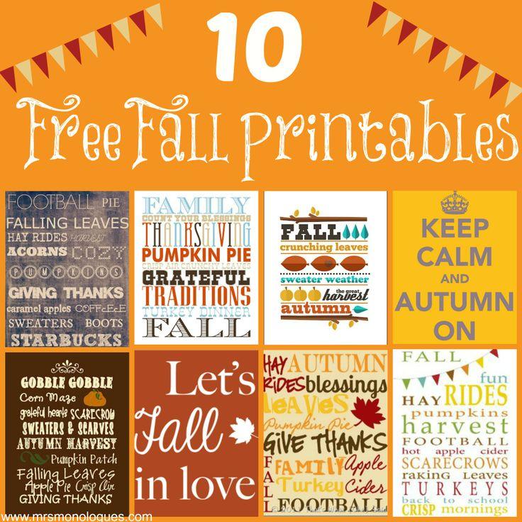 10 Free Fall Printables | via @Kat Ellis #fall #printables #DIY #homedecor