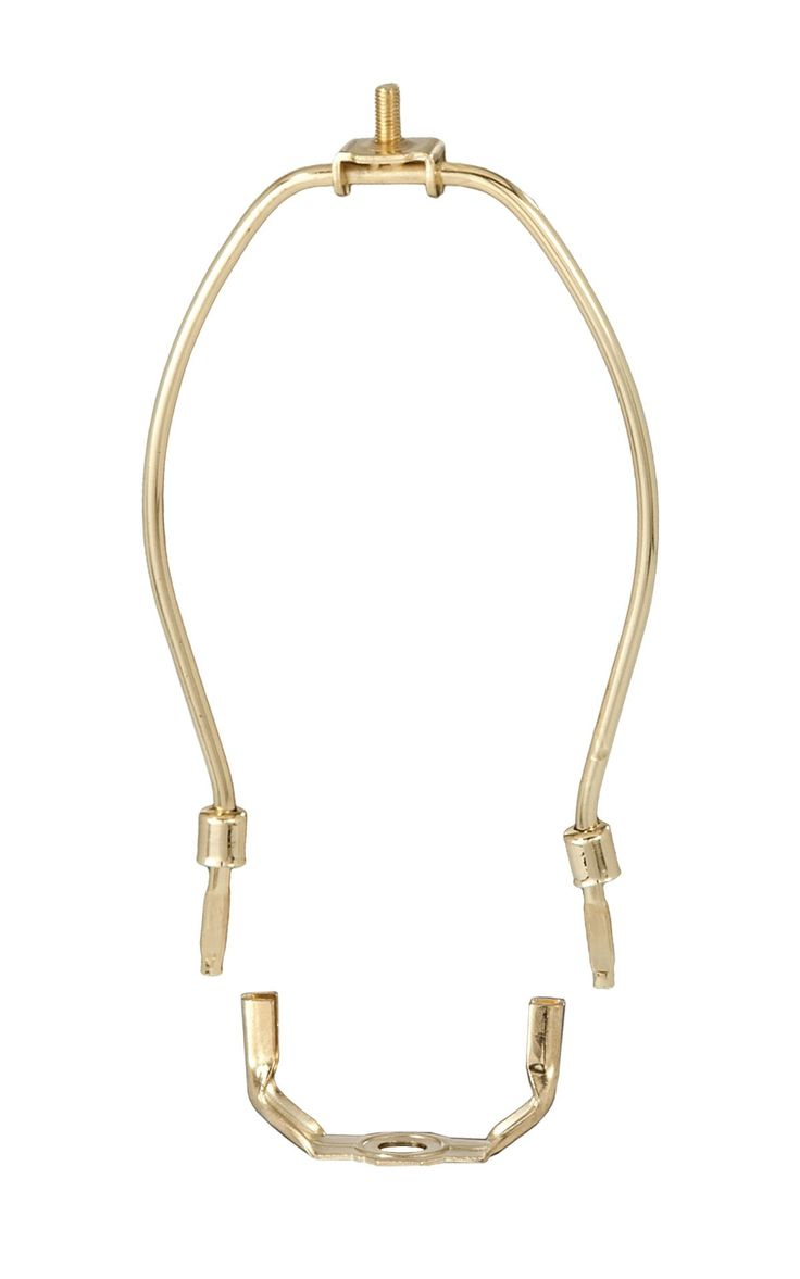 "B&P Lamp 15"" Harp, Brass Plated, Regular Weight. 15 inch harp. 1/4-27M threads (standard size for finials). Receives a slip 1/8 IP (3/8 inch diameter pipe)."