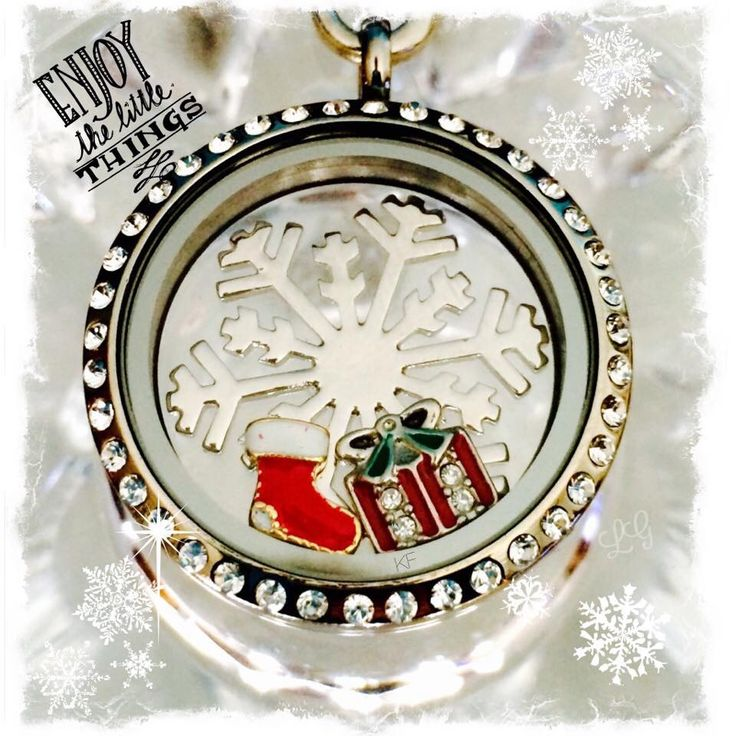 large silver locket with crystals, silver snowflake screen, and 2 cute Christmas charms!! www.southhilldesigns.com/kylahsorenson