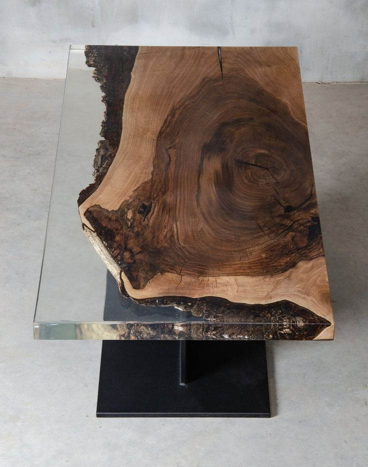 Custom resin table, walnut coffee table with crystal transparent UV resin, slab live edge table, boutique hotel and modern office furniture