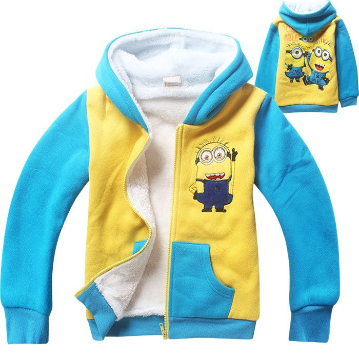 Minions clothes boy jacket girls coat fall winter long sleeve cartoon hooded