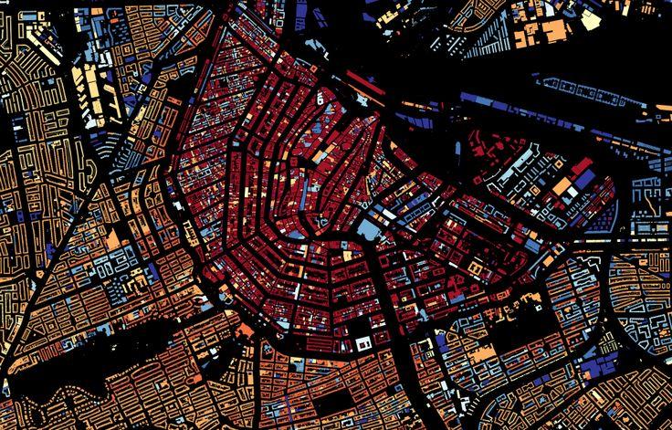история застройки Амстердама (красные — самые старые дома, синие — самые новые)