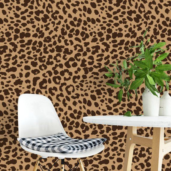 Leopard Brown Or Black Removable Wallpaper G210 27 Etsy Removable Wallpaper Self Adhesive Wallpaper Peel And Stick Wallpaper