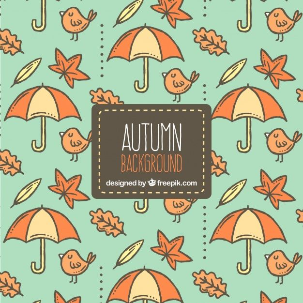 Free vector Autumn background with hand drawn pattern #22585