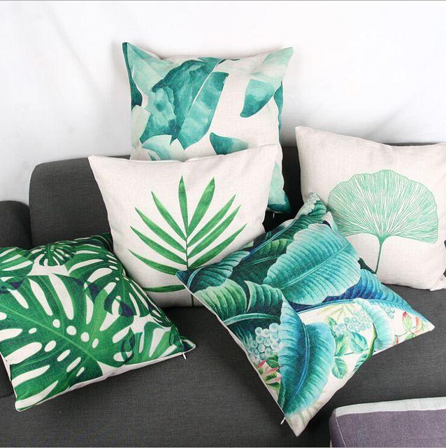 Hojas tropicales país verde decoración cojín algodón sofá throw pillow case 2015 decorativo cojines