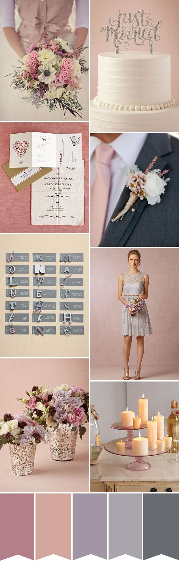 wedding colour palette with shades of soft pink and peach and subtle hints of dusky lavender and grey... maybe a bit more vibrant for our wedding