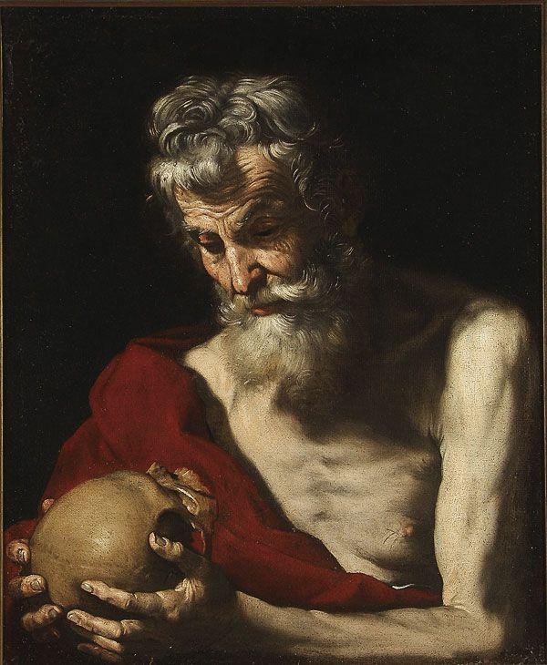 "Circle of JUSEPE RIBERA (Spanish 1591-1652) Saint Jerome Oil on canvas Verso inscribed ""Originale Di Cesara Fracansano""."