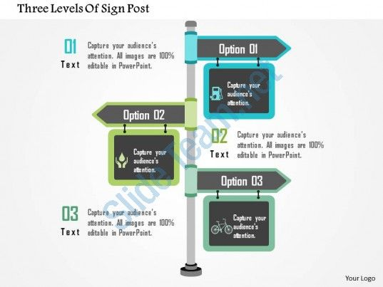three levels of sign post flat powerpoint design Slide01