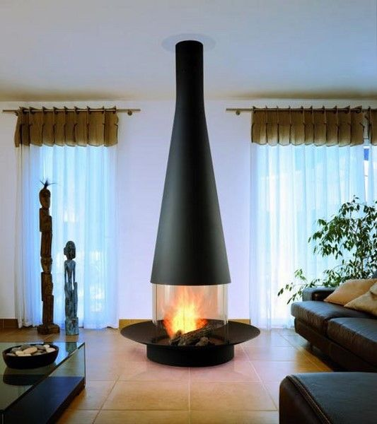Free Standing Vented Gas Fireplace Home Interior