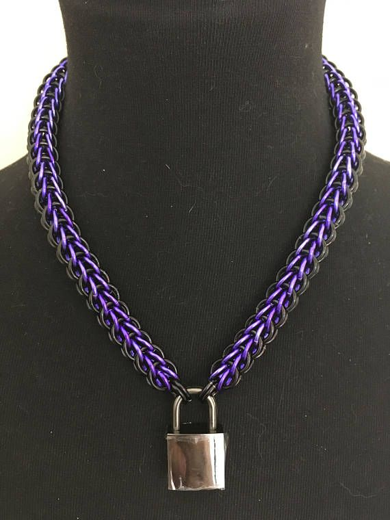 "1/2"" Black Purple Chainmail Collar Necklace - Fetish Kink Collar - Mens Womens Choker Collar - Sub Slave Locking Collar - Bondage Clothing by JohnsChainmailShop from John's Chainmail Shop. Find it now at http://ift.tt/2perPJH!"
