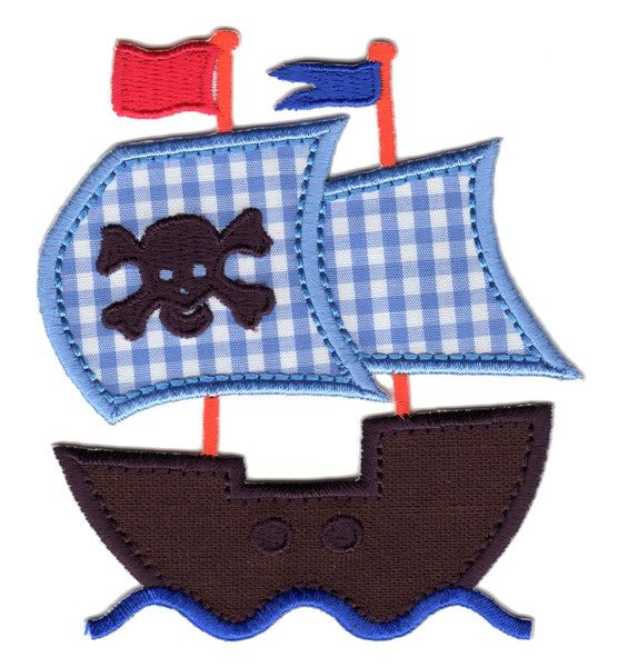 "Pirate Ship Iron-On Applique Patch - Size: 4"" x 3-1/2"" (10 x 8-1/2 cm) - $5.49"
