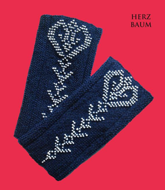 Mother's Day Heart Wristlet blue fingerless mitts by HERZBAUM