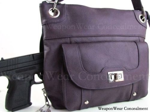 Concealment-Purse-NEW-PURPLE-Leather-Locking-Concealed-Carry-CCW-Holster-Gun-  LOVE the PURPLE!!