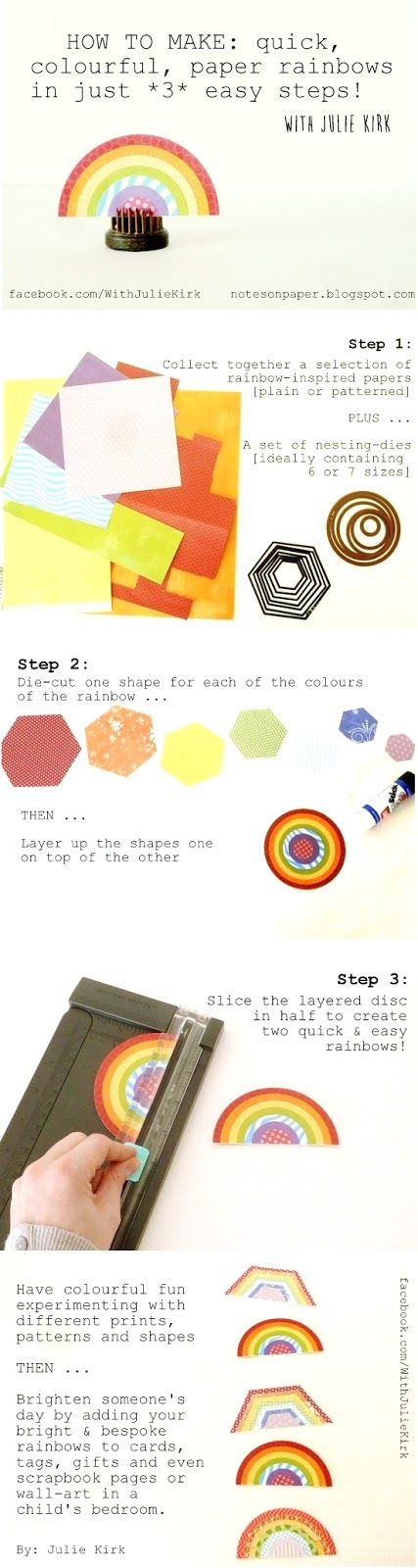 Make a quick and easy rainbow embellishment in 3 easy steps. Tutorial by Julie Kirk. #papercrafts #rainbow #St.PatricksDay