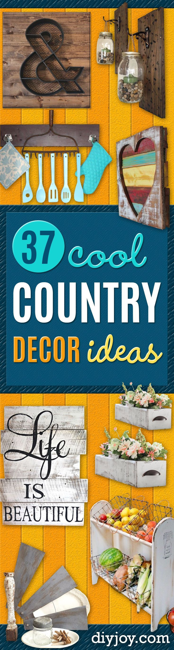 Best Country Decor Ideas - Rustic Farmhouse Decor Tutorials and Easy Vintage Shabby Chic Home Decor for Kitchen, Living Room and Bathroom - Creative Country Crafts, Rustic Wall Art and Accessories to Make and Sell http://diyjoy.com/country-decor-ideas