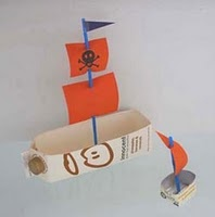 DIY Pirate ship...if we use a plastic milk container will be great to play with it at bathtime.