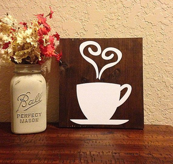 Wood coffee sign rustic kitchen decor by CharminglyCraftedCF
