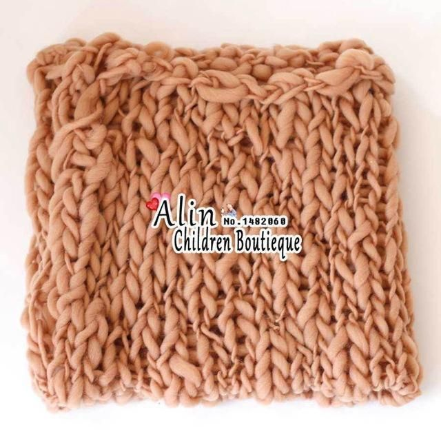 Wolle häkeln Babydecke Neugeborenen Fotografie RequisitenChunky Knit Blanket Basket Fi   – Products