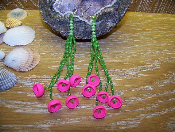 Ohrringe Neon Pink Perlen Neon-Grün Lang Hippie Boho Pardo