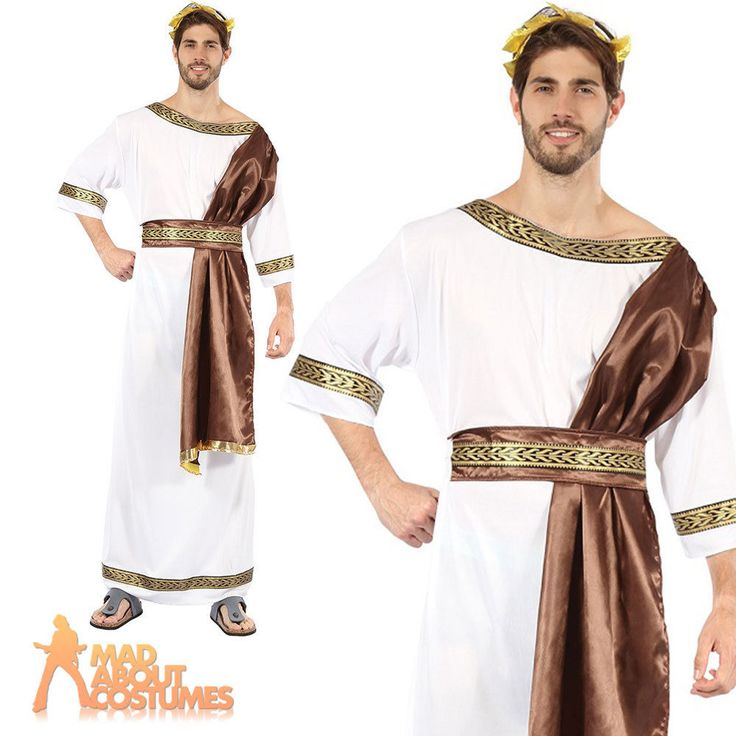 Adult Greek God Costume Mens Roman Toga Egyptian Fancy Dress Outfit New in…