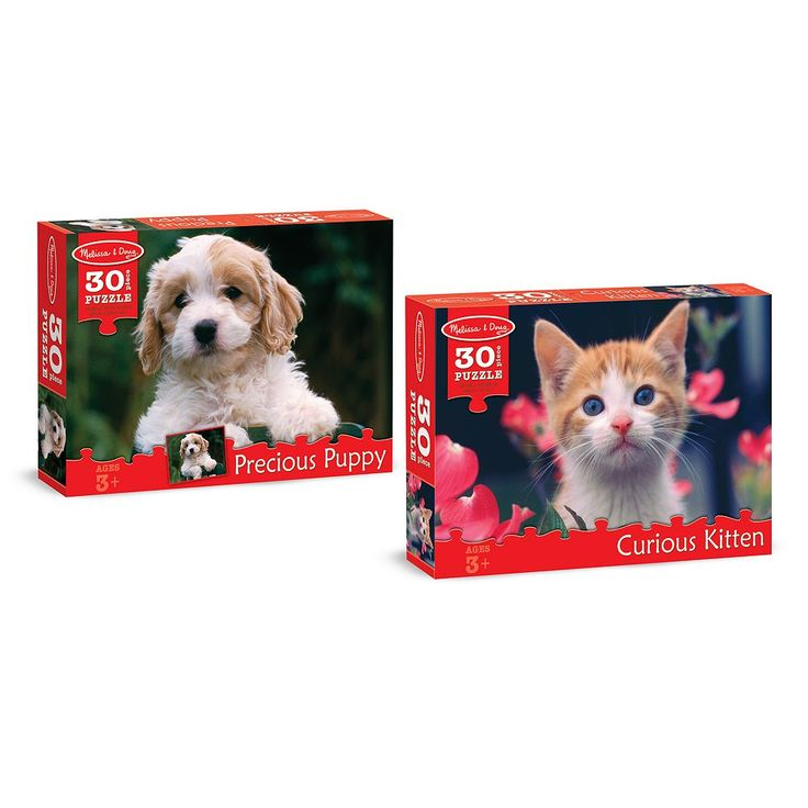 Melissa & Doug Puppy & Kitten 30-pc. Cardboard Jigsaw Puzzle Set, Multicolor