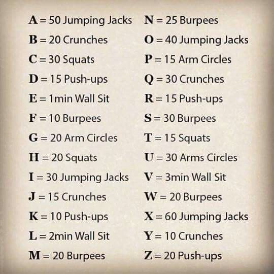 For each letter in your name do the appropriate exercise.