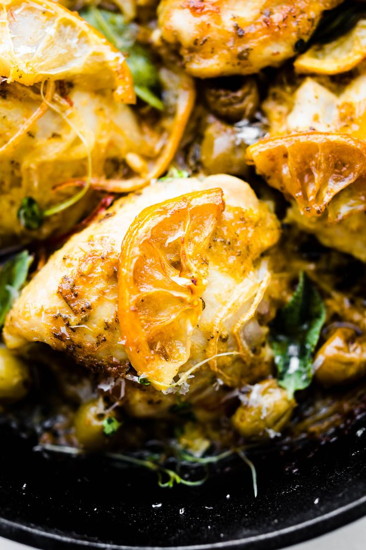 This One Pan Lemon Sage Baked Chicken and Olives is a quick healthy recipe to make over and over again. The lemon sage marinade makes for a tender and juice baked chicken! A paleo and whole 30 friendly recipes that's great by itself or with serve with extra veggies.