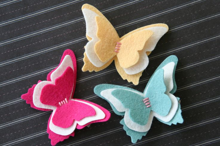 Butterfly Hair Clip in Wool Felt Baby Hair Clip Snap Clip Toddler Hair Clip Girls Hair Clip You Choose Color. $7.00, via Etsy.