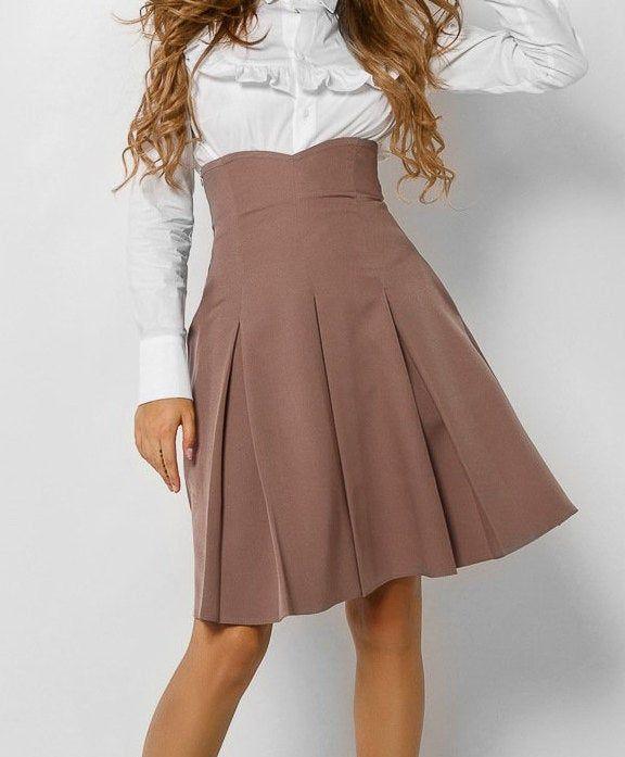 Coffee skirt folds for women Skirt high waist Office Classic skirt above the knee Occasion skirt Office clothing everyday Skirt secretary