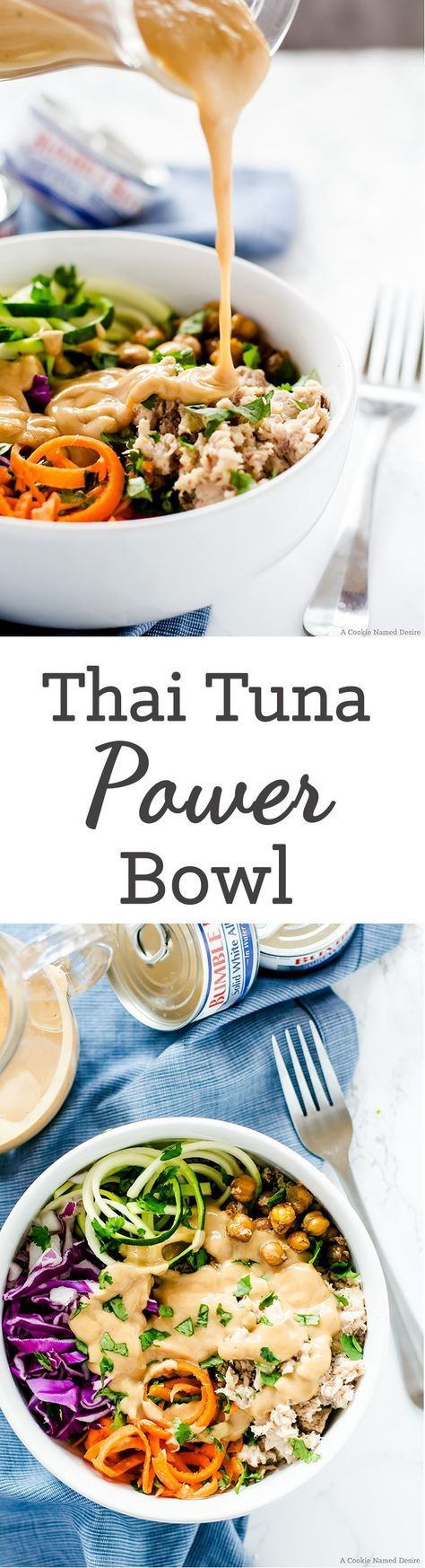 Healthy Thai Tuna Power Bowls. I like the ideas and recipes involved here. With perhaps a couple modifications, the Thai peanut sauce would be the great top off to this power bowl. I'd probably buy fresh wild caught tuna and sear it...wouldn't need much! Could do salmon, too. Could roast sweet potato cubes, but also love the shredded/spiralized zucchini and carrot. Yum for roasted chickpeas, too!!