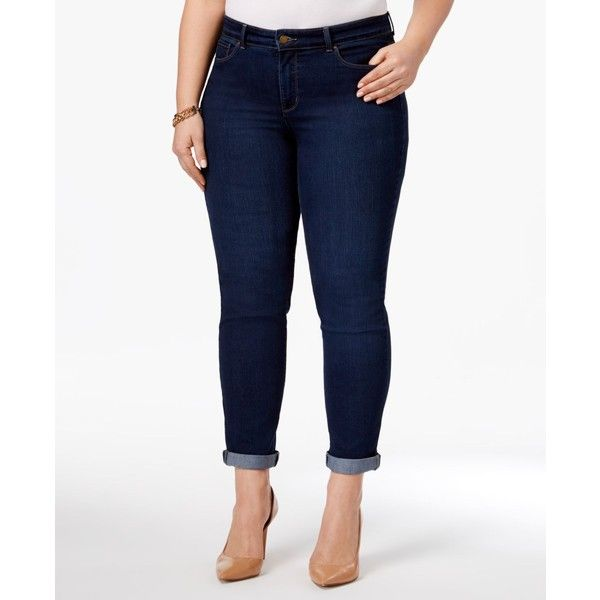 Charter Club Plus Size Boyfriend Jeans, ($60) ❤ liked on Polyvore featuring plus size women's fashion, plus size clothing, plus size jeans, greenwich wash, cuff jeans, plus size white jeans, cuffed jeans, charter club jeans and women's plus size jeans