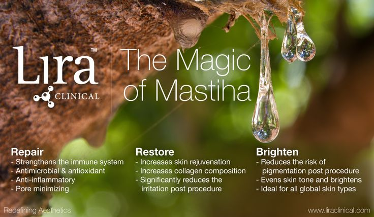 Discover the beautiful benefits of Mastiha, the tear drop of a tree. This precious tree resin is one of Lira Clinical's bold botanical ingredients in both the MYSTIQ and ICE lines.